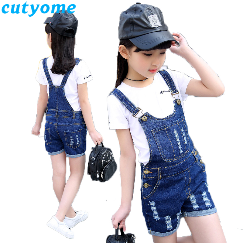 2019 Summer Children's Clothes Set Short Sleeve T-Shirt+Denim Overalls Shorts Teenage Girls Suspender Jeans Shorts Kids Outfits