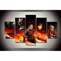 5 Pieces Set Witcher 3 Comics Painting On Canvas Room Decoration Printed Canvas Painting Wall Art