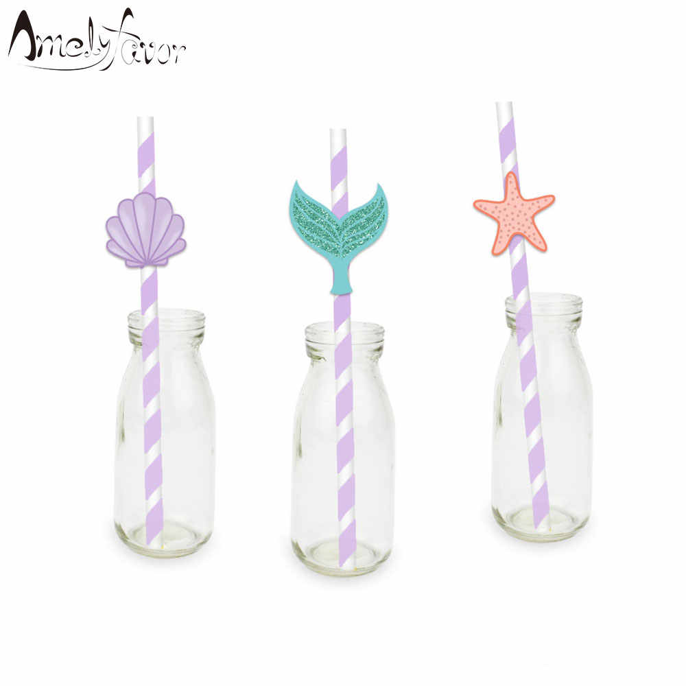 Mermaids Straw 21PCS Paper Straws Birthday Party Festive Supplies Decoration Under the Sea Paper Drinking Straws