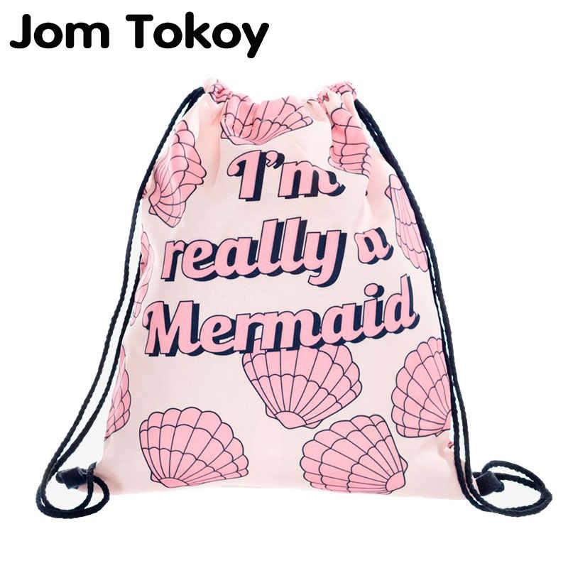 Really mermaid 2018 new fashion Women Backpack 3D printing travel softback  women mochila drawstring bag Girls