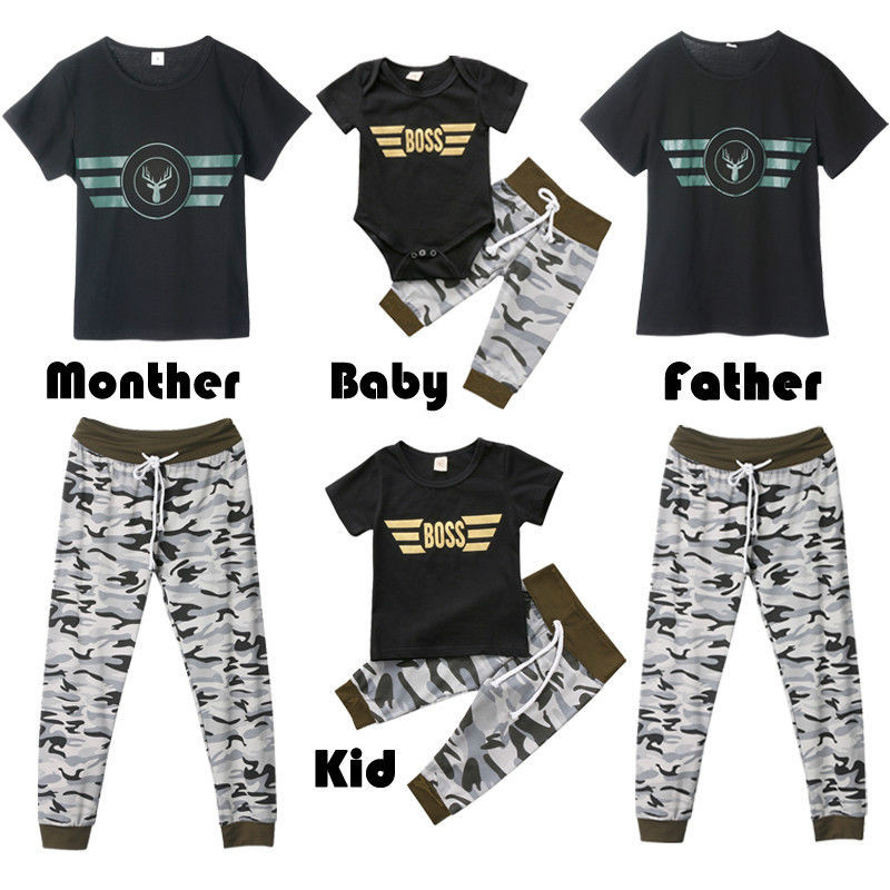 Camouflage Father Mother Kids Baby Family Matching Outfits S