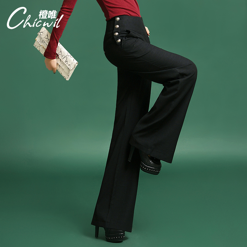 2015 Fashion Vintage Women Summer Pants Wide Leg Black Formal Pants High Waist Loose Trousers ...