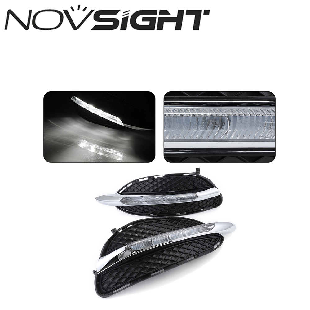 NOVSIGHT White Auto LED Daytime Running Light DRL For Mercedes Benz E-Class W212 E180 E200 2014 2015 car styling led drl daytime running light for mercedes benz w212 e class e180 e200 e260 e320 2014 2015 daylight fog lamp