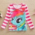 Neat retail 2016 new style comfortable lovely My Little Pony pattern cotton baby girl clothes long sleeved t shirts PD1122#