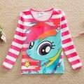 Varejo 2016 novo estilo de puro confortável adorável My Little Pony padrão de algodão do bebê roupas de menina de manga comprida t camisas PD1122 #