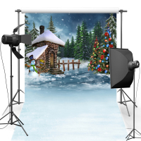 MEHOFOTO Stone House New Fabric Flannel Photography Background Merry Christmas Backdrop Vinyl For Family photo studio ST458