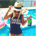 Cool Women Summer T Shirt CHAMPAGNE CAMPAIGN Punk Rock Sleeveless Letter Print Tshirt Cotton Casual T-shirt fashion tee B-F11881