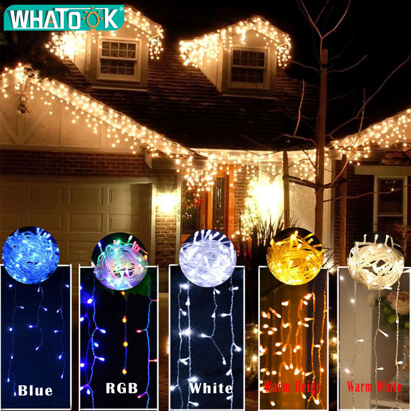 Christmas String Lights Garland Outdoor Indoor LED Light Decoration 5m 110V 220V 100 Leds Curtain Drop Home Bars Party Garden
