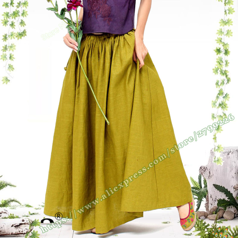 2018 Plus Size <font><b>6XL</b></font> Autumn Retro Vintage Yellow Cotton Linen Casual Pastoral style Female Maxi <font><b>Women</b></font> Skirts Holiday Skirt Designs image
