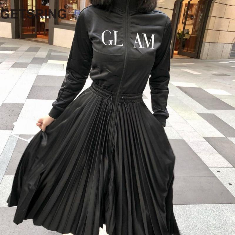 GETSRING femmes robe Patchwork col debout lettre robe plissée femmes noir grande taille Vintage robes longues femmes 2019 nouveau