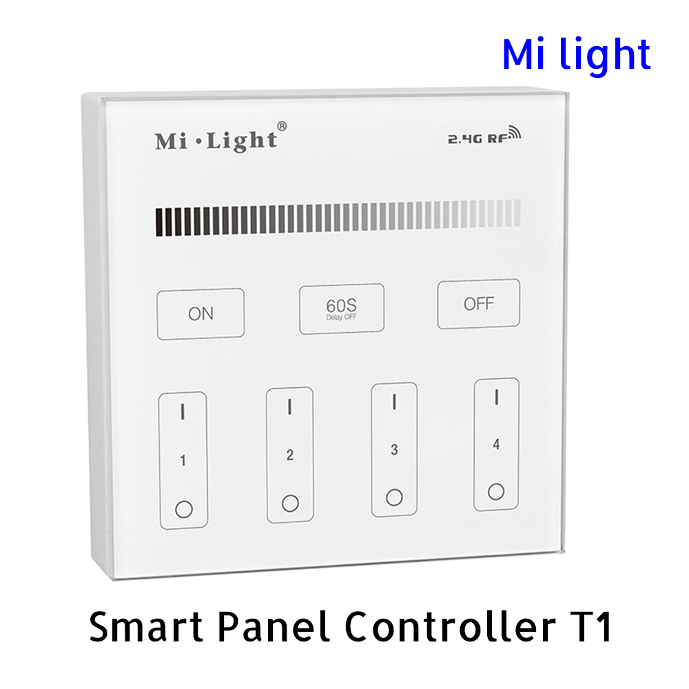 BSOD LED Smart Controller Touch Panel Milight T1 RF 2.4GHz Single Color Dimmer Brightness 4 zones AC85-265V Wall Light Switch