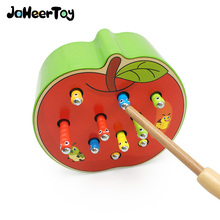 JaheerToy Atch Worms Game Magnetic Wooden Toys for Children Apple Strawberry Montessori Educational Toy 2-3-4 Years Old for Kids magnetic wooden fishing game toy for toddlers alphabet fish catching counting board games toys for 2 3 4 year old
