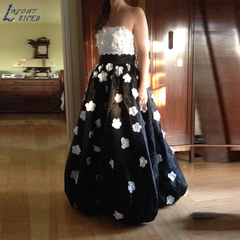 Strapless White Floral Applique Black Pageant  Prom Dresses Special Occasion Gowns Custom Made Color / Size