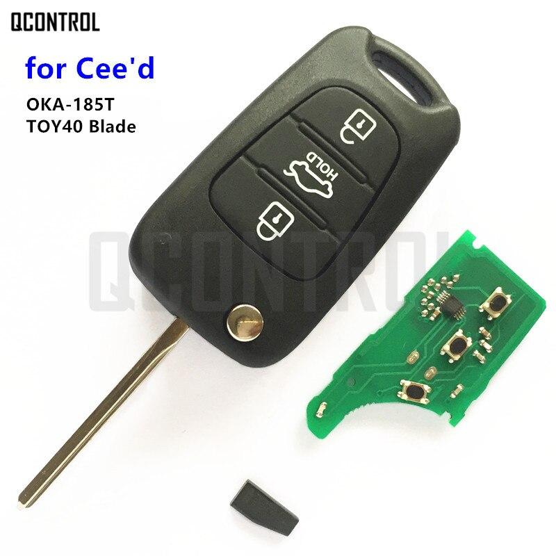 QCONTROL Vehicle Remote Key OKA-185T CE0682 for KIA CEED Pro Ceed Cee'd SW TOY40 Key Blade 2009 - 2012
