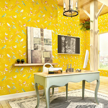 Bright Yellow American wallpaper garden flowers painted lux simple modern living room wall bedroom background decor