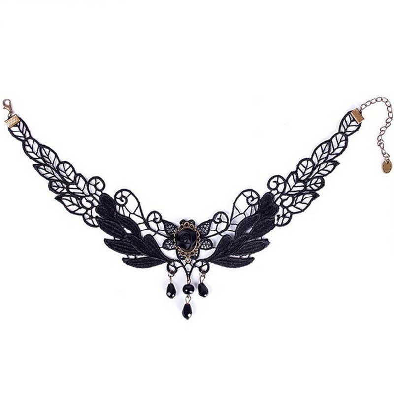 2018 Fashion Gothic Punk Style Gem Decoratie Vrouwen Black Lace Kralen Choker Kraag Ketting Chocker Sieraden
