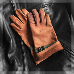 WW2 US Army Vintage Leather Gloves Fetal Cowhide Cuffs Motorcycle Biker Gloves America Military Adjustable Mittens