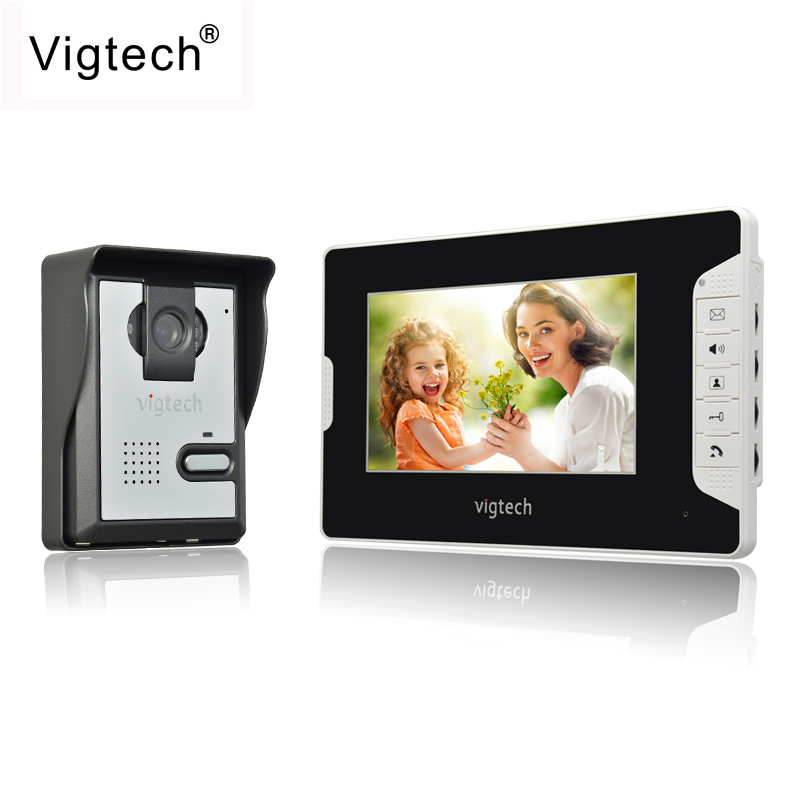 Vigtech Visual Intercom Doorbell 7''TFT LCD Wired Video Door Phone System Indoor Monitor 700TVL Outdoor IR Camera Support Unlock 7 inch video doorbell tft lcd hd screen wired video doorphone for villa one monitor with one metal outdoor unit night vision