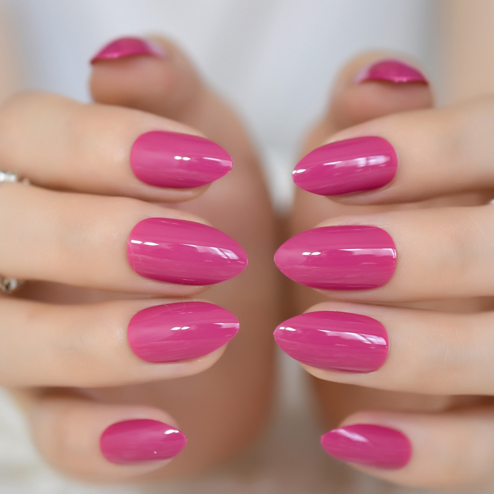 24Pcs Rose Red Short Stiletto Candy Nails Classic Design