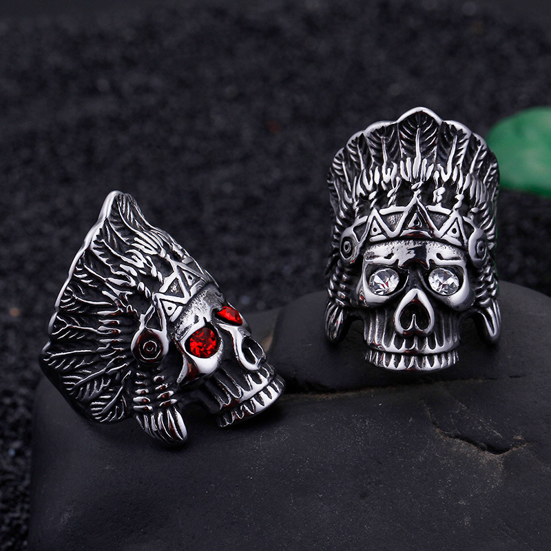 JewOrna Fashion Biker Stainless Steel Ring Men Tribe Apache Indian Chief Head Rings Size 8-12 Punk Rocker Figure Jewelry JOR051