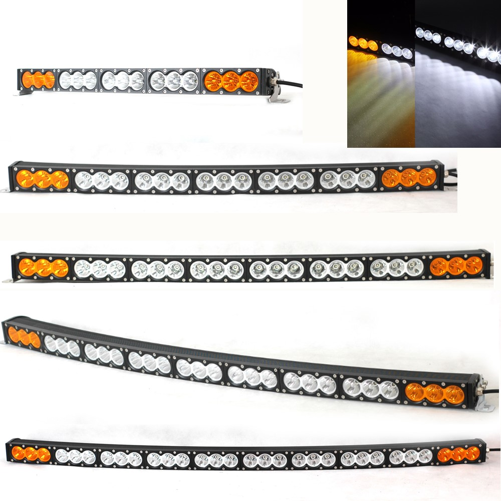 Car Accessories 22 27 32 38 42 48 54 Inch 300W White Amber Curved LED Light Bar For 4x4 4WD 12V 24V offroad LED Light Bar