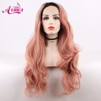 Aurica Bodywave Ombre Pink Heat Safe Synthetic Hair Lace Front Wig With Short Black Roots For