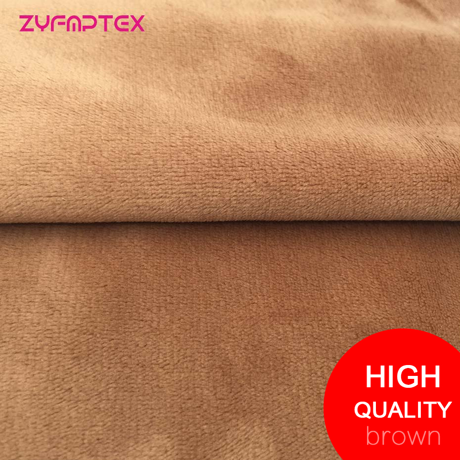 ZYFMPTEX New Arrive High Quality Super Soft Fabric For Dolls Brown Color Plush Fabric Patchwork Meter 150x50cm 1.5mm Pile Length ...