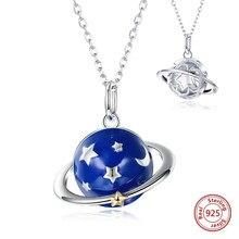 83b46f1c1aa8 2019 nueva 100% plata esterlina 925 azul esmalte estrella planeta COLLAR  COLGANTE de joyería de moda para las mujeres chica rega.