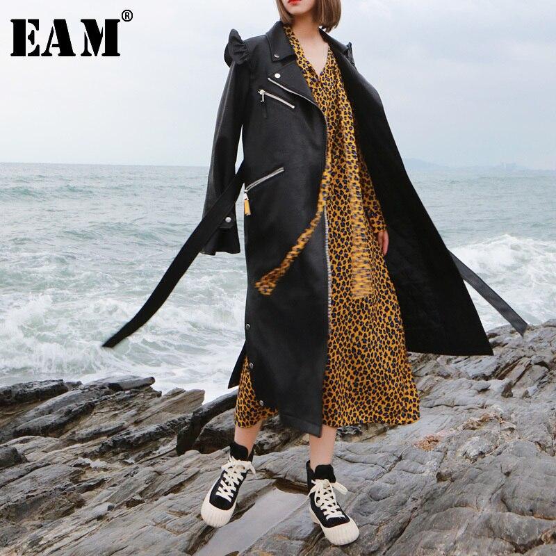 [EAM] 2019 New autumn Lapel Long Sleeve Black Loose Long Pu Leather Ruffles Stitch Windbreaker Women Fashion   Trench   JK410