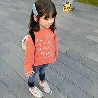 BuDingXiong 2018 Yeni Bahar Yaz Çocuk Kız T gömlek Katı Mektuplar Çocuk Tops Tees Uzun Kollu Pamuk Bebek Kız Gömlek