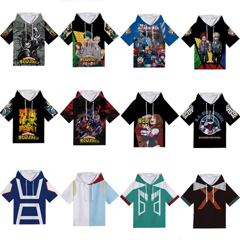 My Hero Academia Bakugou Katsuki Todoroki Shoto T-shirt Hoodies Sweatshirts Cosplay Costumes Anime Short Sleeve For Men