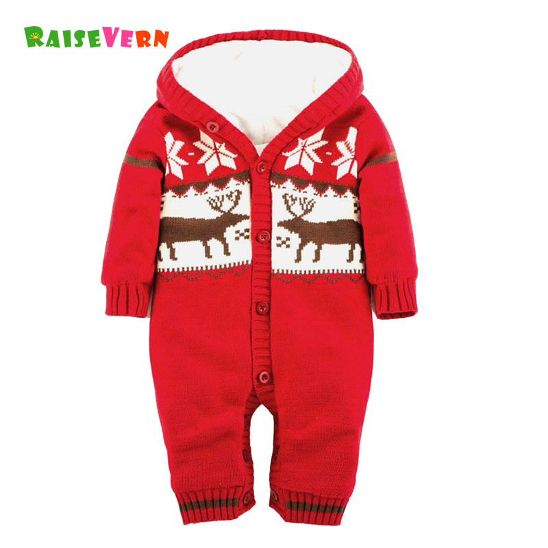 Winter Christmas Reindeer Romper Newborn Infant Baby Girl Boys Kid Chidren Clothes Long Sleeve Warm Hooded Knitted Jumpsuit