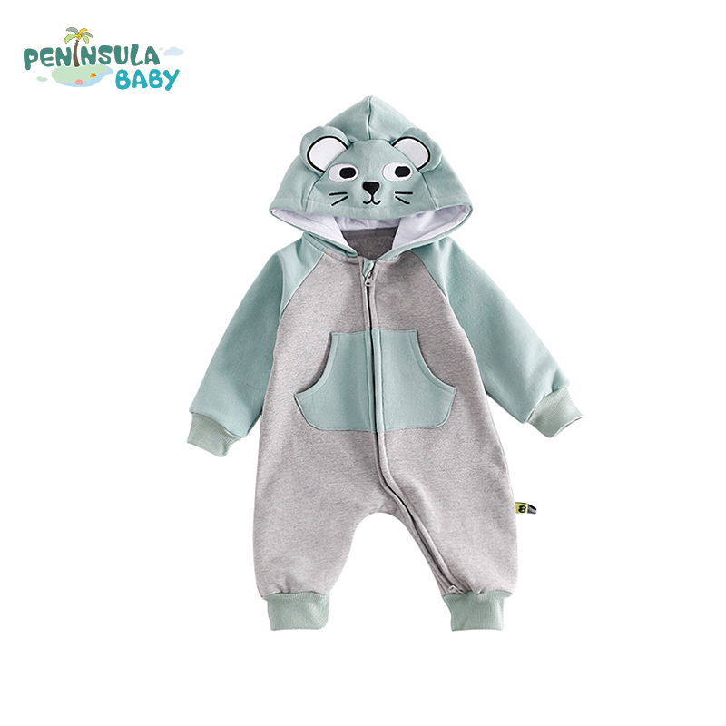 Cute Newborn Girls Boys Rompers Cotton Clothes Fashion Cartoon Bear Kids Jumpsuits Hooded Toddler Long Sleeve Baby Suits детский комбинезон n a winter style newborn toddler s rompers lovely cartoon long sleeve warmful clothes for baby kids climbing clothing 1pc tz053