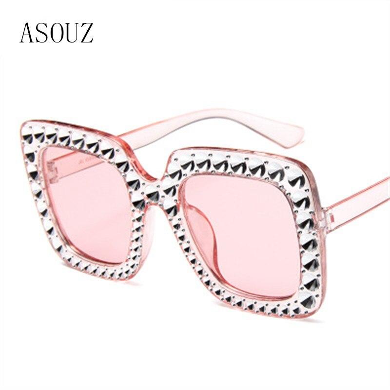 ASOUZ  new fashion ladies sunglasses crystal diamond square frame UV400 mens glasses classic brand design