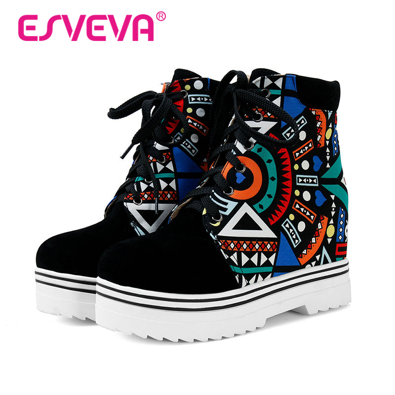 ФОТО ESVEVA 2016 Canvas Platform Autumn Shoes Women Fashion Boots Height Increasing Shoes Ladies  High Heel Ankle Boots Size 34-43