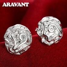 New Fashion Women Earrings 925 Silver Jewelry Romantic Rose Flower Stud Earring For Women Wedding Jewelry pair of stunning rose wedding earrings jewelry for women
