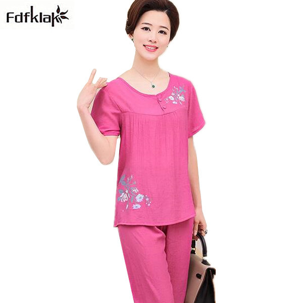 288a7c7b7 Plus size women sleepwear pajamas summer pyjamas set short sleeve cotton  nightwear ladies pijama suit home clothes XL-4XL