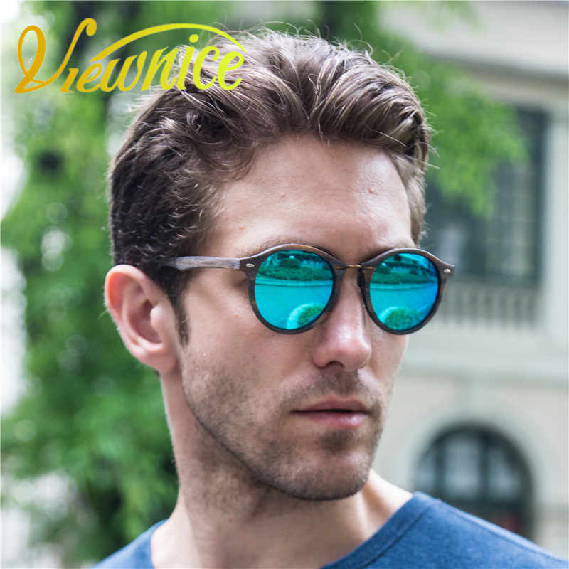 ae9a43793b4 Viewnice Wooden oculos de sol feminino homme marque Vintage round Metal Eyewear  Wood handmade Sunglass Polarized