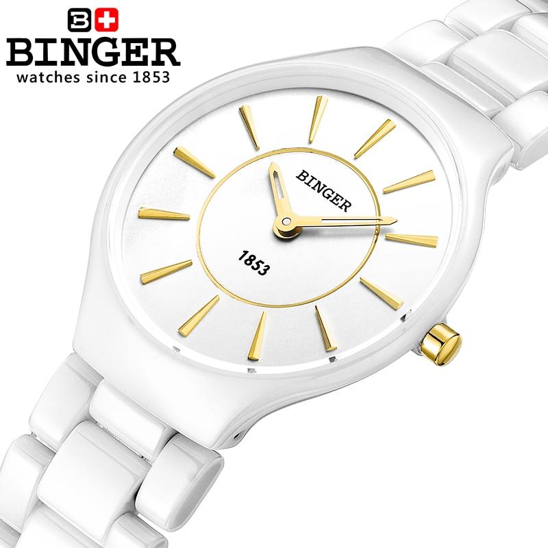 Suiza Binger Ceramic Quartz Relojes para mujer Moda amantes de la marca de lujo Relojes Reloj resistente al agua B8006-1