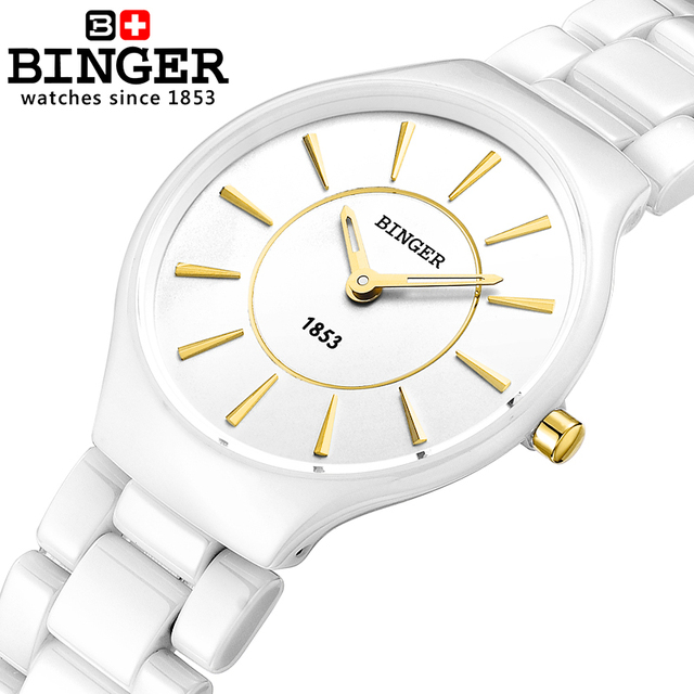 Switzerland Binger Ceramic Quartz Women's Watches Fashion lovers style luxury brand Wristwatches Water Resistant clock B8006-1