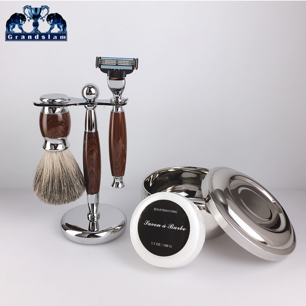 Grandslam 5pcs Shaving Razors Kit Safety Cartridge 5 Blade Razor Badger Shaving Brush Shave Beard Soap Bowl Mug Stand Holder Set mens badger shaving brush stand razor holder and double head safety straight razor