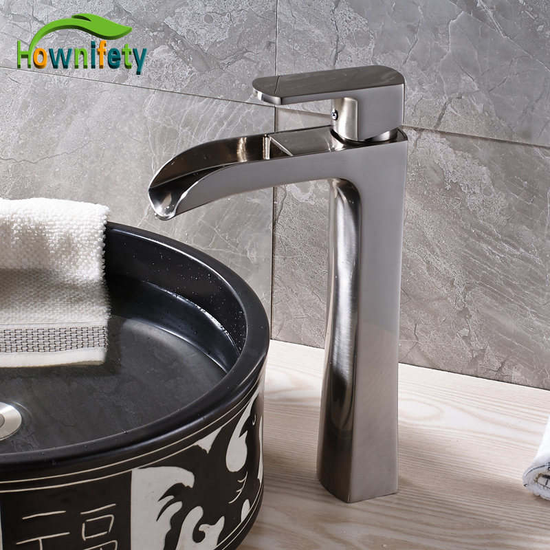 Nickel Brushed Waterfall Spout Bathroom Sink/Basin Faucet Single Handle Countertop Mixer Tap with Hot and Cold Water
