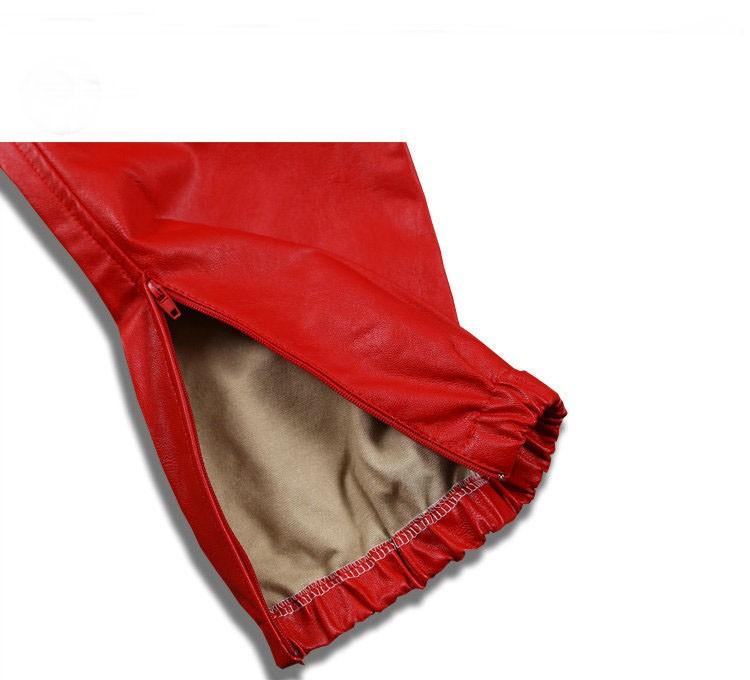 PU Leather Pants Men Elastic Waist Plus Size Side Zipper Hip Hop Leather Trousers Fashion Kanye West Justin Bieber Style Pants (9)