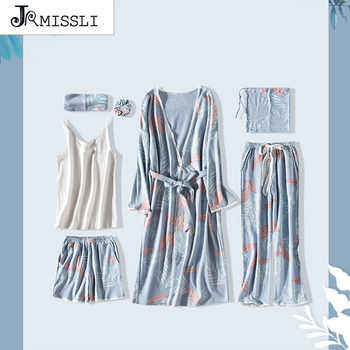 JRMISSLI New Robe Sexy V-Neck Cotton Robes Sleepwear Spring Autumn Women Pyjama 7 Pieces Set Robe Set Underwear Lingerie Femme