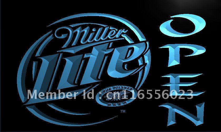 LA029 Miller Lite Beer OPEN Bar LED Neon Light Sign home