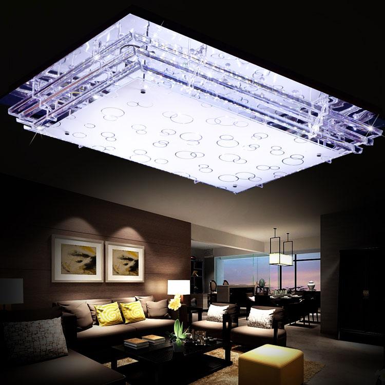 Led Rectangular Living Room Crystal Ceiling Lamp 3 Color