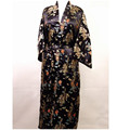 Promotion New Black Men's Silk Bathrobe Classic Chinese Traditional Bathrobe Printed Kimono Gown Size S M L XL XXL  ZR14