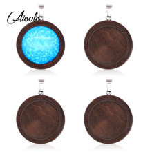 10pcs/lot Brown Wood Cabochon Base Fit 25mm Blank Wooden Stainless Steel Charm Pendant Trays Diy Jewelry for Necklace Making 10pcs fit 25mm stainless steel cabochon base diy blank cameo pendant bezel settings diy jewelry necklace trays
