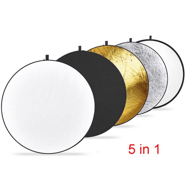 """43 """"110 cm Fotografía Reflector 5 en 1 Plegable Redondo Multi-Disco Light Reflector Translúcido Oro Plata Blanco y Negro 5"""