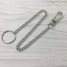 20cm Long Metal Belt Chain Rock Punk Trousers Hipster Pant Jean Keychain Silver Ring Clip Keyring Unisex Jewelry(China)